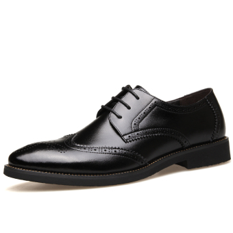 PINSV Genuine Leather Men's Breathable Casual Business Shoes (Black) - Intl - 3