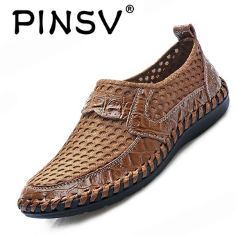 PINSV Leather Men Breathable Fashion Driving Shoes Slip-On Loafers Brown - intl