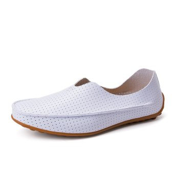 PINSV Leather Men's Flats Shoes Breathable Casual Loafers Slip-On (White) - 3