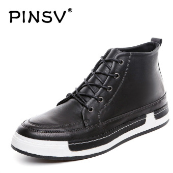 PINSV Leather Men's Sneakers Fashion Leather Shoes Casual Ankle Boots (Black)