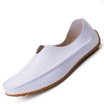 PINSV Leather Men's Flats Shoes Breathable Casual Loafers Slip-On(White)