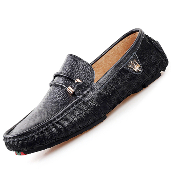 PINSV Leather Mens Flats Shoes Casual Loafers (Black)