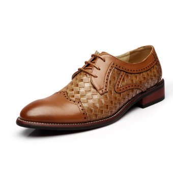 PINSV Men Business Oxfords Shoes (Brown)