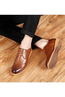 PINSV Men Dress Shoes Genuine Leather Black Italian Fashion Business Oxford Shoes(Brown) - 4