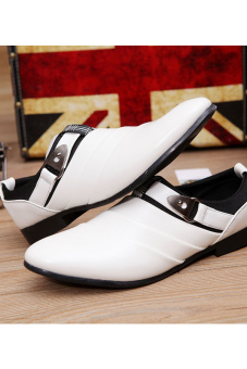PINSV Men Formal Shoes Casual Loafers(White) - 2