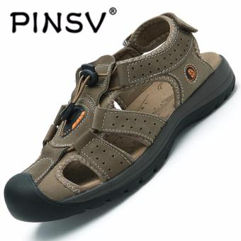 PINSV Men Outdoor Sneakers Breathable Hiking Shoes Outdoor Hiking Sandals Men Trekking Trail Water Sandals (Brown)
