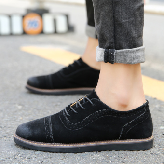 PINSV Men's Formal Shoes Casual Business Leather Shoes (Black) - 5