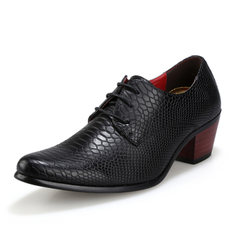 PINSV Men's Leather Formal Shoes Fashion Oxfords Shose (Black)
