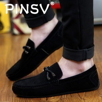 PINSV Men's Slip-Ons Loafers Fashion Cow Suede Leather Shoes Black - intl - 4