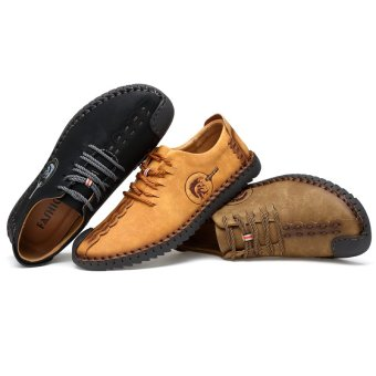 PINSV Nubuck Leather Shoes Men round toe leather lace fashion shoes Low Cut Shoes - Yellow - intl - 4