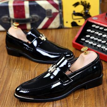 PINSV Patent Leather Men Formal shoes Loafers (Black) - 4