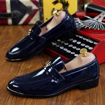 PINSV Patent Leather Men Formal shoes Loafers (Navy)