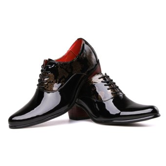 PINSV Patent Leather Men's Formal Shoes Casual Oxford Shoes (Black) - 3