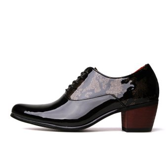 PINSV Patent Leather Men's Formal Shoes Casual Oxford Shoes (Black) - 2