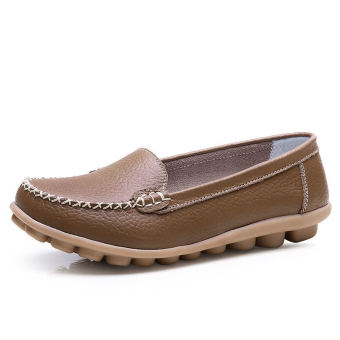 PINSV Women Fashion Flats Shoes Casual Loafers(Brown)