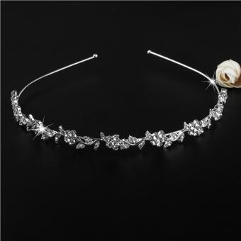 PIXNOR Wedding Women's Crystal Bridal Flower & Leaves CrownHeadband Tiara Headdress - 4