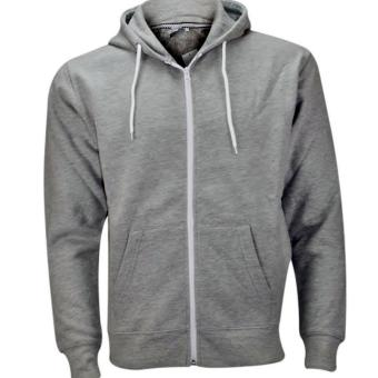Plain Hoodie Jacket Fleece Grey with zipper
