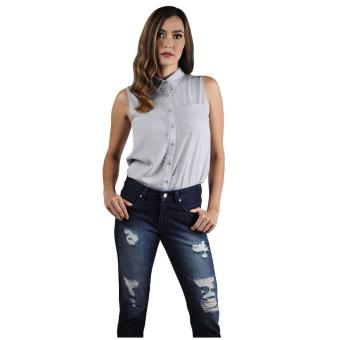 Plains & Prints Hyde Sleeveless Top (Grey)