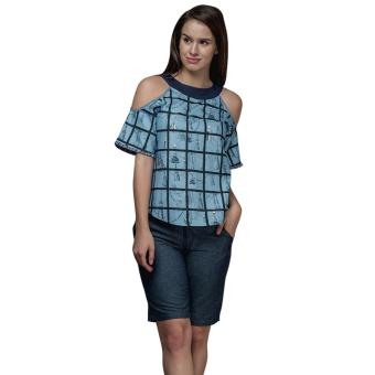 Plains and Prints Ruselle Short Sleeves Top (Blue)