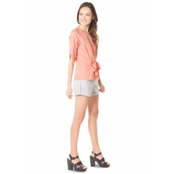 Plains and Prints Shaquille Quarter Sleeves Top - Peach - 5