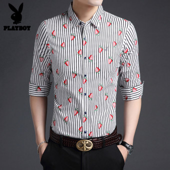 PLAYBOY casual cotton men's autumn shirt long-sleeved shirt (White Strawberry 806)