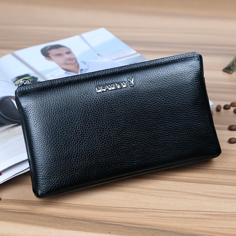 PLAYBOY casual leather business handbag men's wallet (Blue PCA2621-6L) (Blue PCA2621