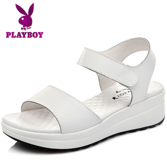 PLAYBOY Korean-style leather Female Summer women's shoes sandals (White)