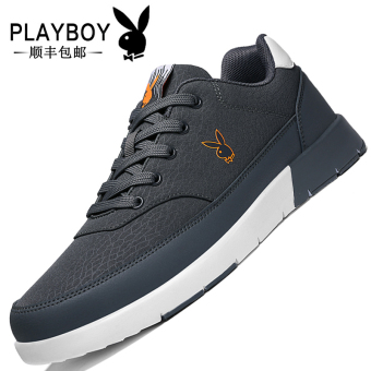 PLAYBOY Korean-style men winter New style Stylish casual shoes men's shoes (Dark Grey)
