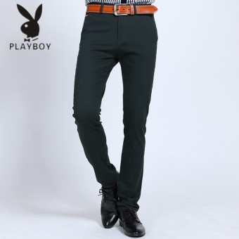 PLAYBOY Korean-style men's Slim fit straight trousers casual pants (Dark green color K802)