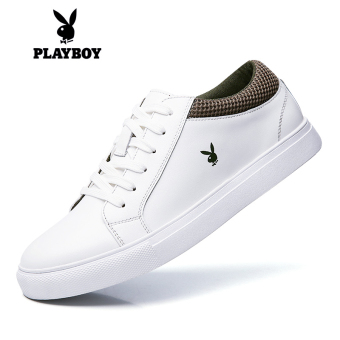 PLAYBOY Korean-style white men's casual leather shoes men's shoes (7CX006036D white)
