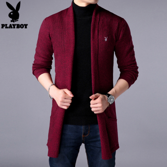 PLAYBOY long-sleeved t-shirt thick sweater men's sweater (Wxr-2258 red)