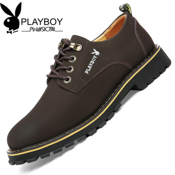 PLAYBOY New style autumn casual leather shoes men's shoes (Dark Brown)