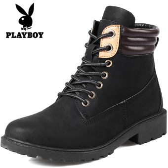 PLAYBOY versitile fashion female thick bottomed short boots Martin boots (Black)