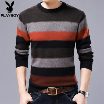 PLAYBOY wool men contrasting color striped round neck thick sweater knit shirt (Red)