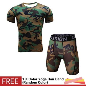Plus Size 3XL Men Camouflage Bodybuilding Short Sleeve T-shirtQuick Dry Shorts Set Tights Compression Fitness Gym JoggingTraining Sports Suit - intl