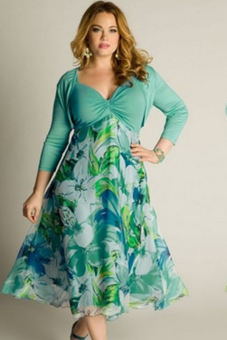 Plus Size Lady's Elegant Floral Printed V-Neck 3/4 Sleeve Evening Party Dress