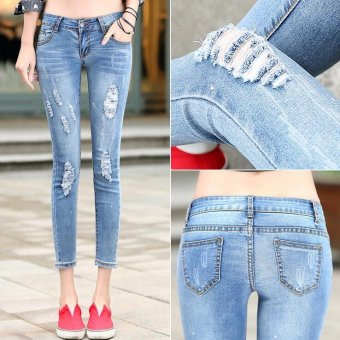 Plus Size Ripped Fading Jeans Women`s True Denim Skinny Distressed Jeans For Women Jean Pencil Pants - Light blue - Intl Price Philippines