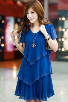 Plus Size Women New Fashion Chiffon Dress (S-XXXXL) (Blue) (Intl ...