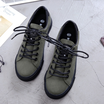 Plus velvet autumn and winter New style warm cotton-padded shoes canvas shoes (Dark Green)