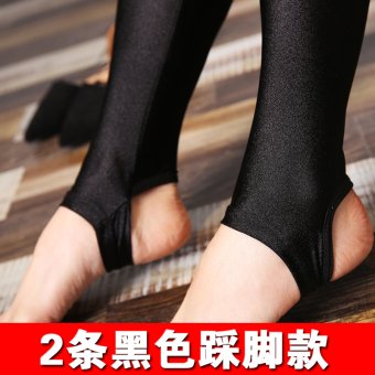 Plus velvet autumn and winter thick leggings pants (2 strip black stepping Models)