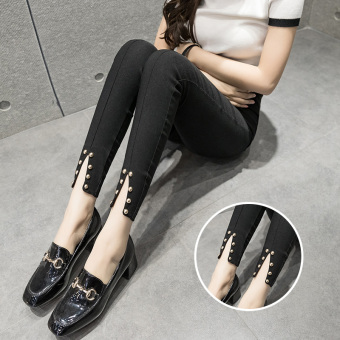Plus velvet black female outerwear ankle-length pants leggings (Riveted)