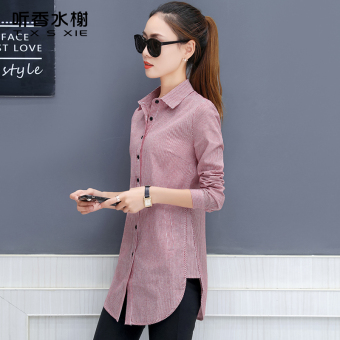Plus velvet female long-sleeved New style warm Top striped shirt (Red striped)