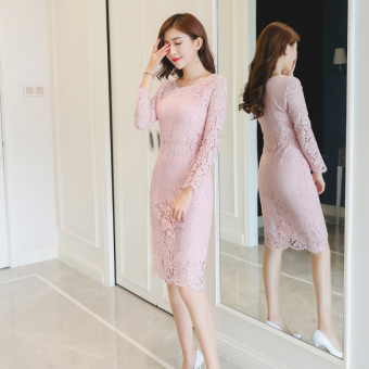 Plus velvet New style elegant sheath skirt dress (Pink color)