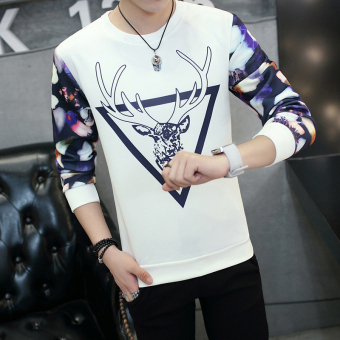 Plus velvet round neck Slim fit men's pullover Top thick long-sleeved t-shirt (Y321 white)
