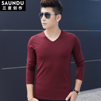 Plus velvet solid color v-neck Slim fit thick bottoming shirt T-shirt (Wine red color (general paragraph))