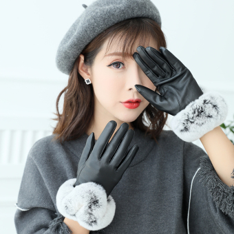 Plus velvet women's winter thick warm gloves leather gloves ([Glossy models] Black)