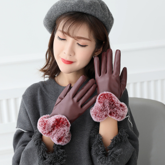 Plus velvet women's winter thick warm gloves leather gloves ([Glossy models] Red)