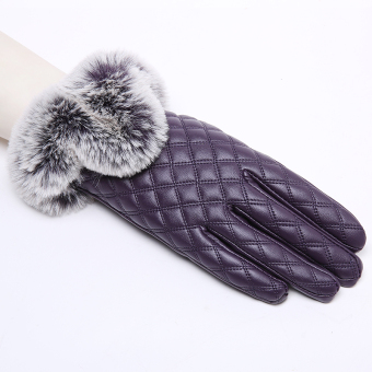 Plus velvet women's winter thick warm gloves leather gloves ([Plaid models] Purple)