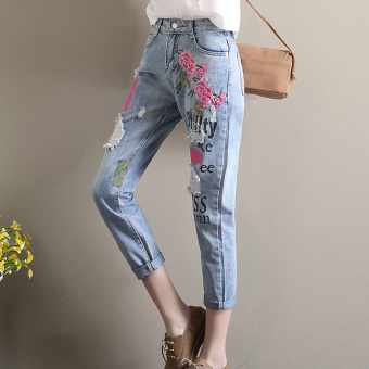 Plwiwtcde female embroidered flower pants with holes denim pants
