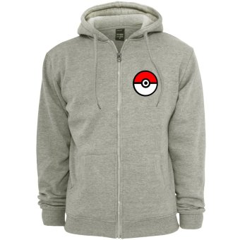 POKEMON GO Anime Pokemon Trainer Unisex Zip-Up Outdoor Hoodie Jacket (Grey)